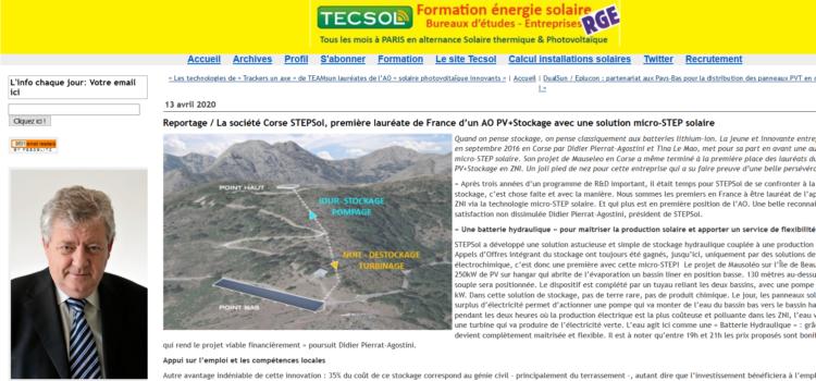 Reportage TECSOL : STEPSol, première lauréate de France d'un AO PV+Stockage avec micro-STEP solaire